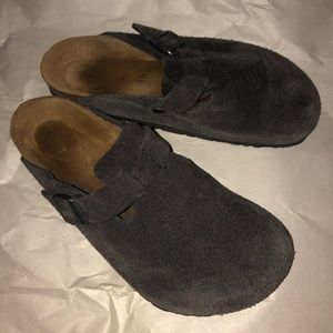 Birkenstock Charcoal Gray Suede Boston 40/M7/W9